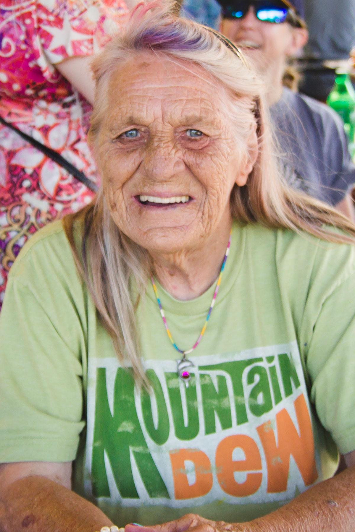 Smiling Senior Woman With Long Hair